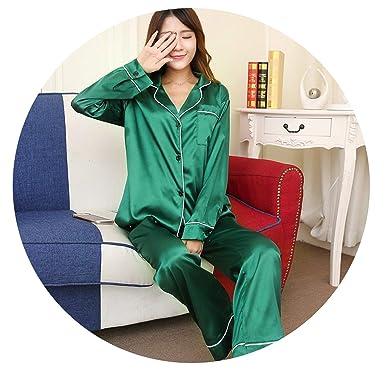 Amazon.com: Pajamas de satén para mujer de seda de manga ...