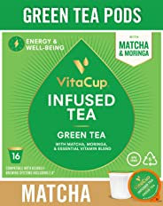 VitaCup Green Tea Pods with Matcha, Moringa, Keto|Paleo|Whole30 Friendly, B12, B9, B6, B5, B1, D3, Compatible with K-Cup Brew