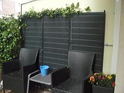 raumteiler r gen 160 x 195cm anthrazit 3 teilig paravent raumteiler mobile sichtschutzwand. Black Bedroom Furniture Sets. Home Design Ideas
