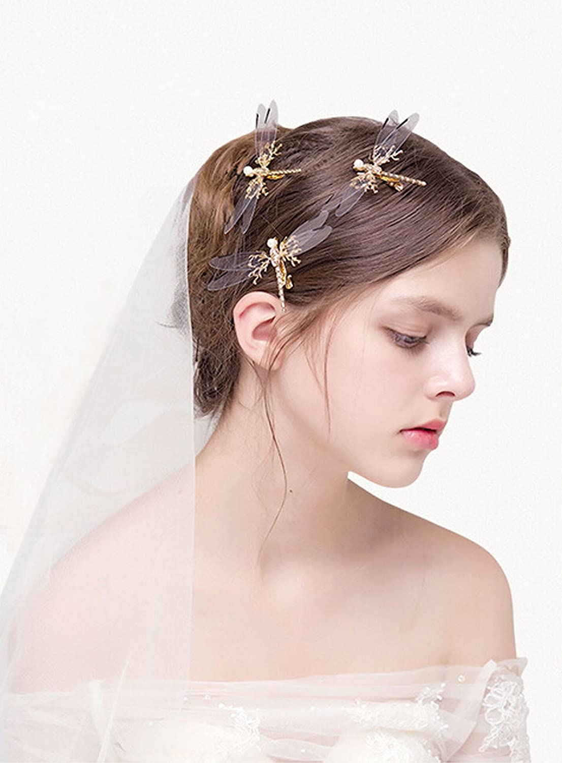 Bridalvenus Hair Clips Dragonfly Hair Pins Fashion Claw - Wedding Headpieces for Women and Girls on Party, Casual (Three Pieces in One Package)
