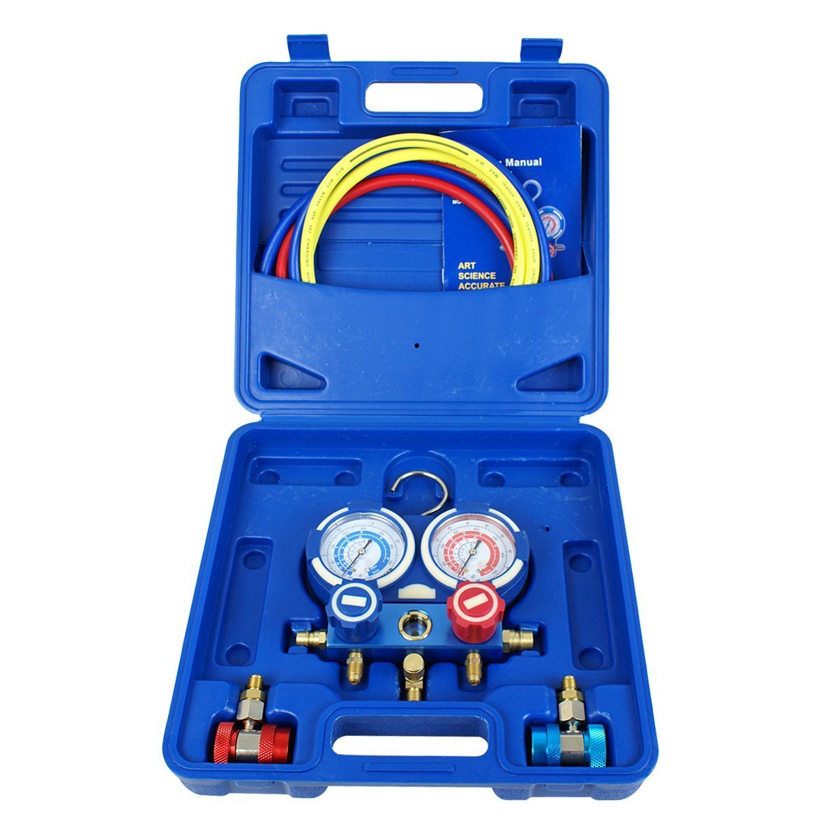 1//4 SAE Fittings ZENY Diagnostic A//C Manifold Gauge Set R134a Refrigeration Kit Brass Auto Serivice Kit 4FT w//Case