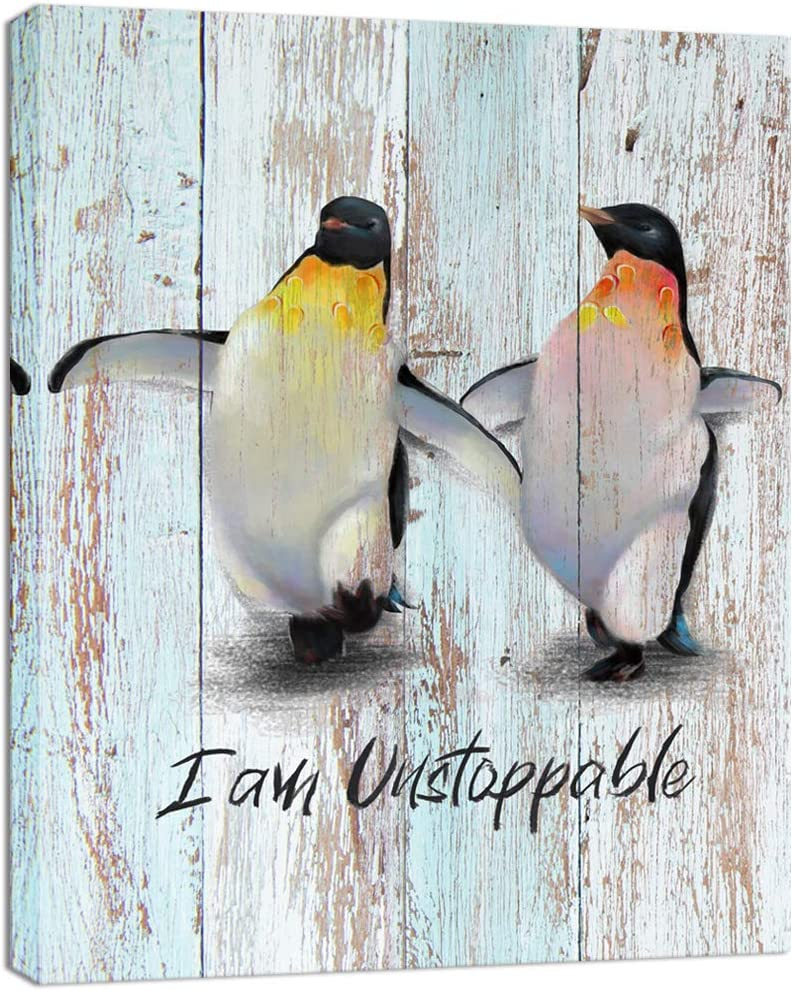 Visual Art Decor Funny Cool Penguins Painting Canvas Prints Wall Art Animal Picture with Positive Quote for Modern Home Office Kids Bedroom Artwork Ready to Hang