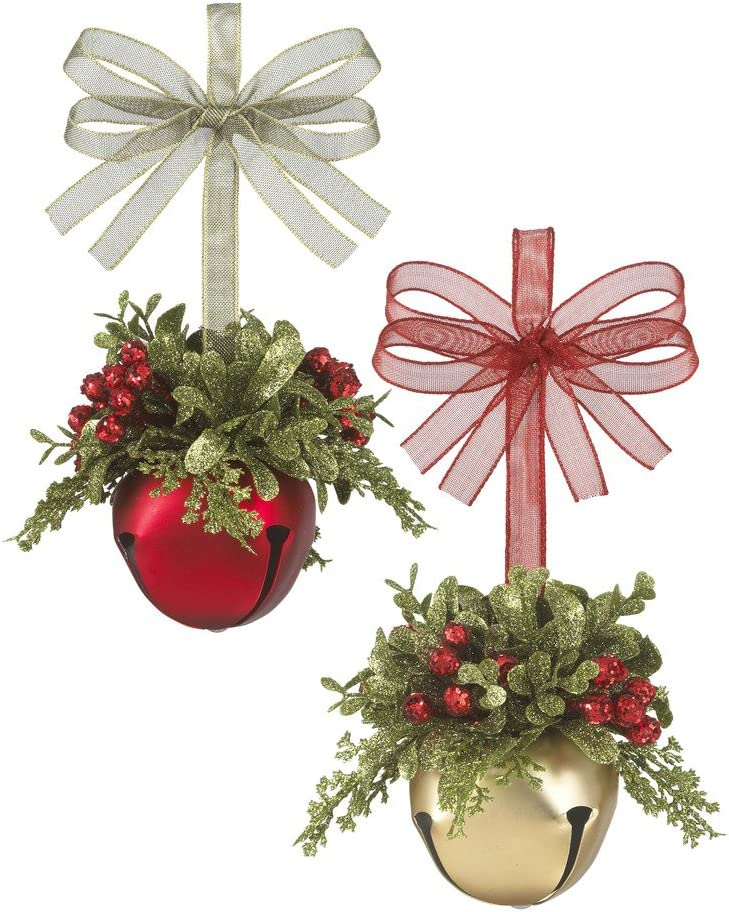 Kissing Krystals Mistletoe Sleigh Bells Classic Red - Gold and Red, Set of 2