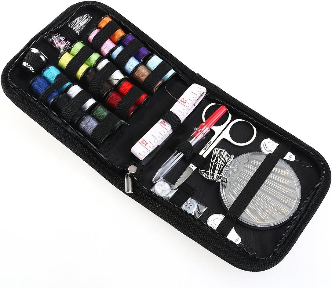 ROSENICE 58pcs Kit de costura de viaje Set Agujas hilo tijeras con Bolso de la cremallera (Negro)