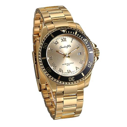 a5659aa318fc JewelryWe Reloj Dorado Para Hombre Caballero