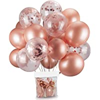 20 Pcs 12 Inch balloons Decorations Set Including Rose Gold Latex balloons and Foil Confetti Filled balloons for Party…