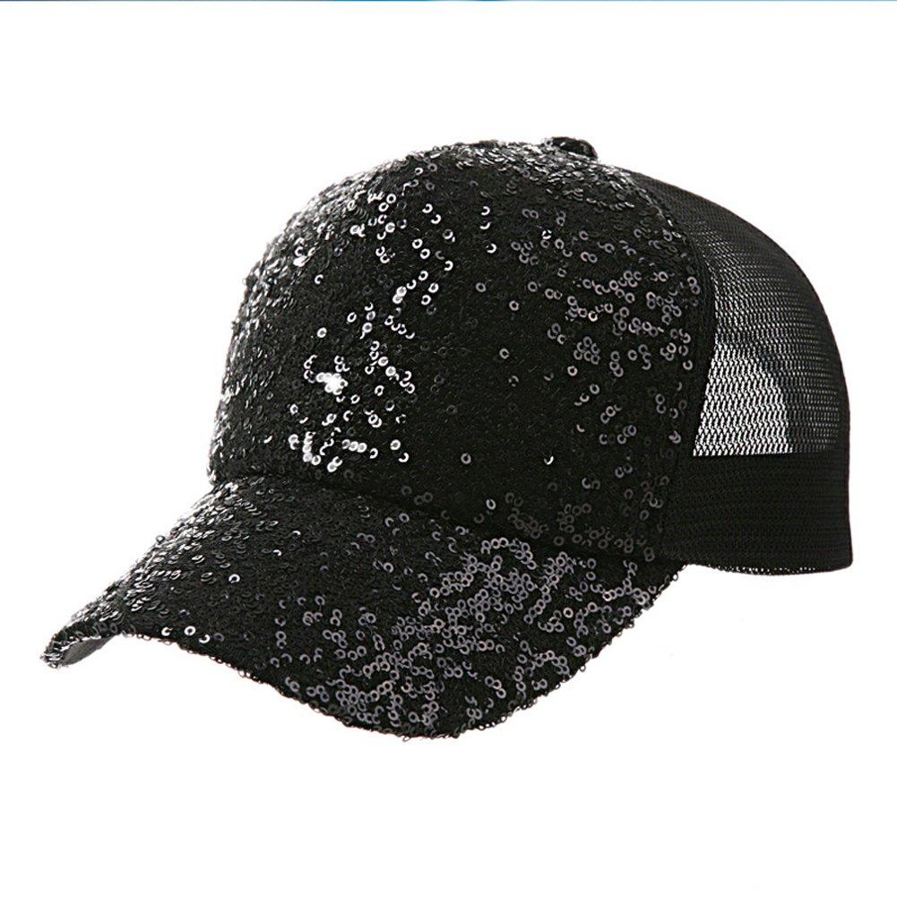 GUO - Hut weibliche Sommerart und weisegezeiten sequined Baseballmütze beiläufige Kappenfrühling und Sommersonnehut Hip-Hophut (Schwarzes)