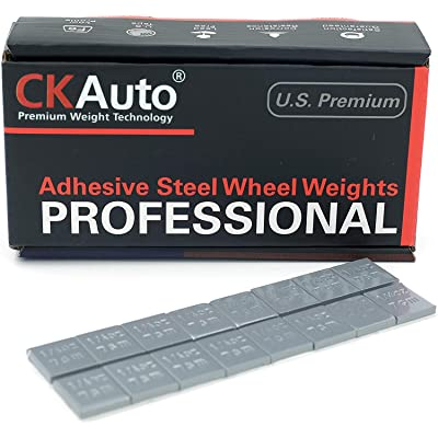 CKAuto 1/4oz, 0.25oz, Grey, Adhesive Stick on Wheel Weights, EasyPeel Type. Cars, Trucks, SUVs, Motorcycles, Low Profile, 60oz/Box, U.S. OEM Quality, (240pcs): Automotive