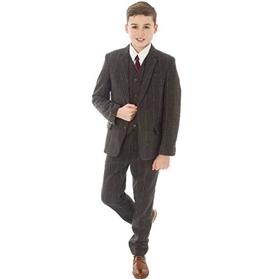 cc06d2689 5pc Brown Check Boys Tweed Suit Boys Wedding, blazer, Page Boy, Party  Outfit, Boys brown Suit: Amazon.co.uk: Clothing