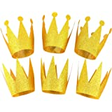 Gold King Princess Queen Birthday Crown Party Hats Decorations Supplies for Kids Women, 6 pcs