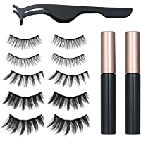 5 Pairs Magnetic Eyelashs Set Magnet Liquid Eyeliner& Magnetic Lashes & Tweezers Set Waterproof Long Lasting Eyelash…