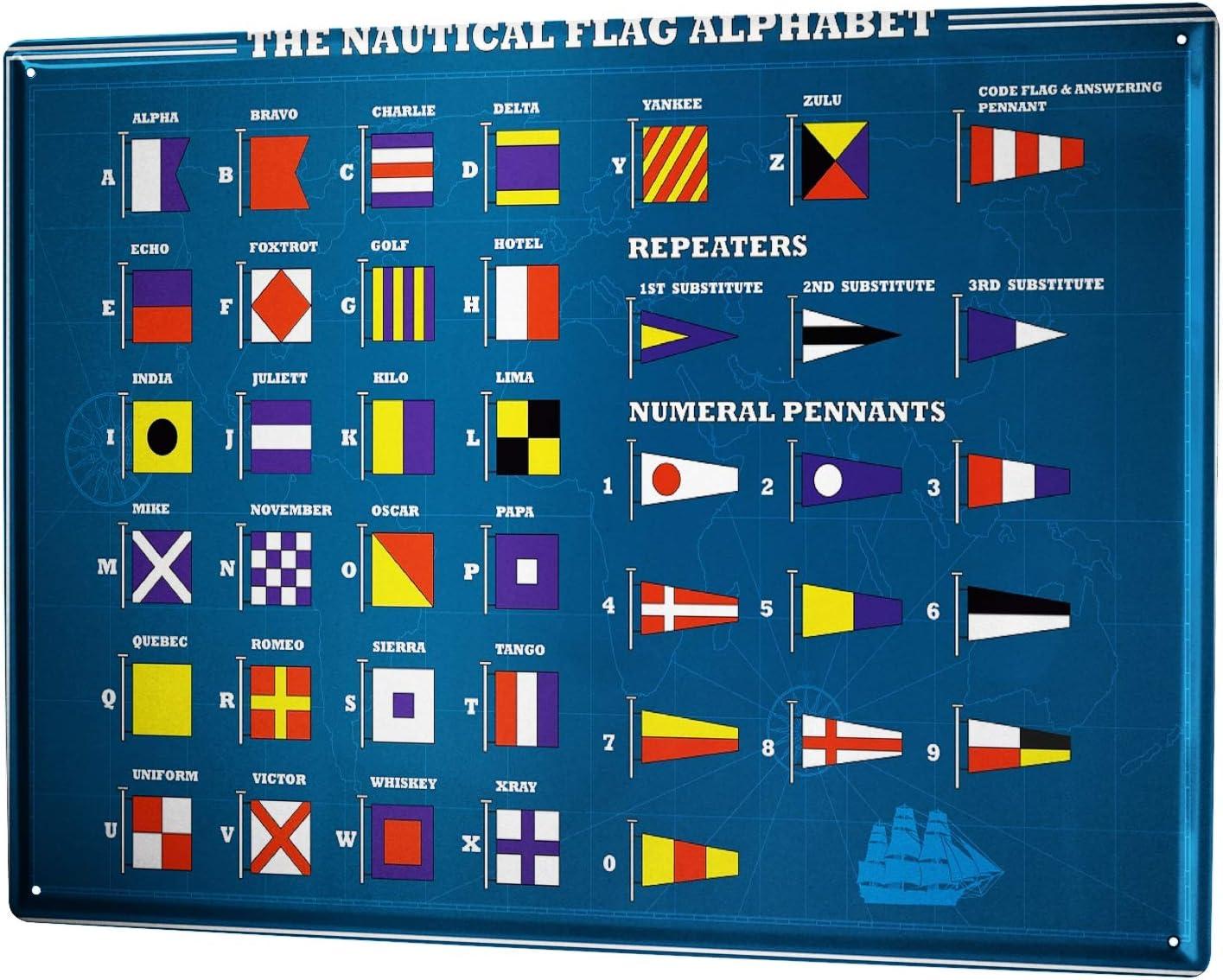 LEotiE SINCE 2004 Tin Sign Metal Plate Decorative Sign Home Decor Plaques 30 x 40 cm Metal Plate Plaque Globetrotter Nautical Flags Alphabet