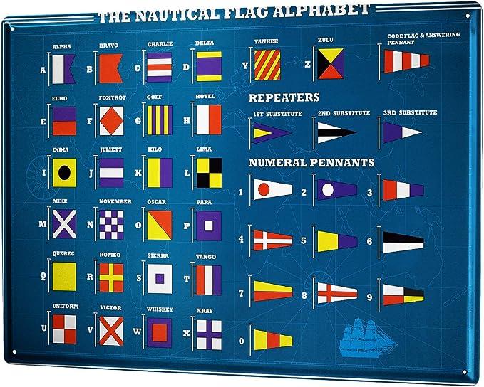 LEotiE SINCE 2004 Cartel Letrero de Chapa XXL Agencia De Viajes Vacaciones Alfabeto de Banderas náuticas: Amazon.es: Hogar