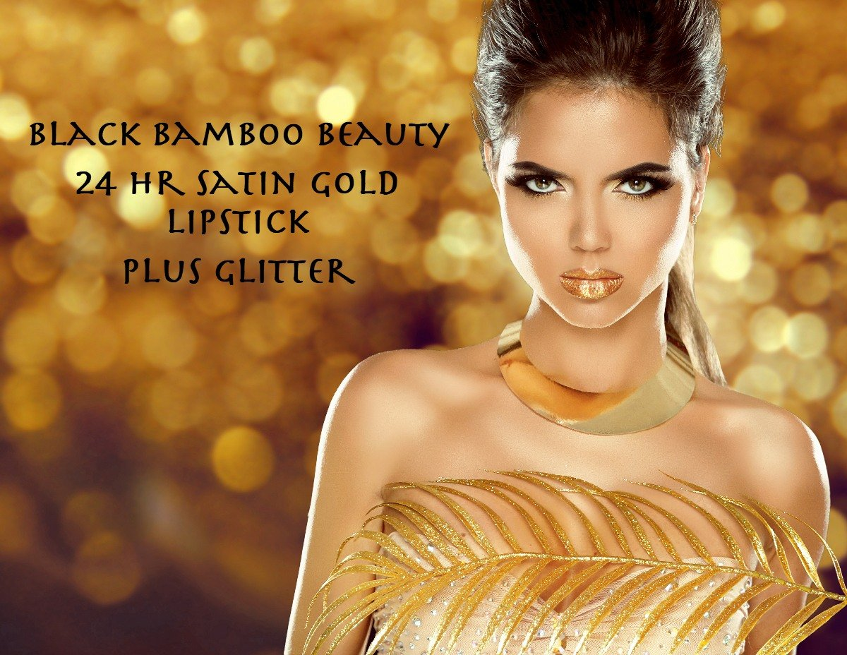 GOLD BODY GLITTER AND LIPSTICK SET | Special Offer | Includes 24K Gold Matte Moisturizing Lipstick and BONUS Gold Holographic Body Glitter | Perfect for Parties, Raves, Festivals or Celebrations | by Black Bamboo (Image #4)