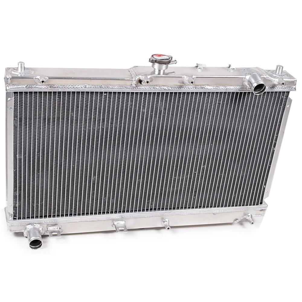 46mm High Flow Aluminium Twin Core Engine Cooling Race Radiator UK-Performance-Parts