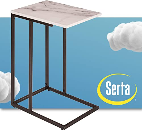 Serta Harton C, TV Snack Tray Laptop Stand, Mid Century Modern Living Room Side End Accent Table, Slide Under The Couch or Bed, Metal Legs, 23.6 Height, White Marble Print