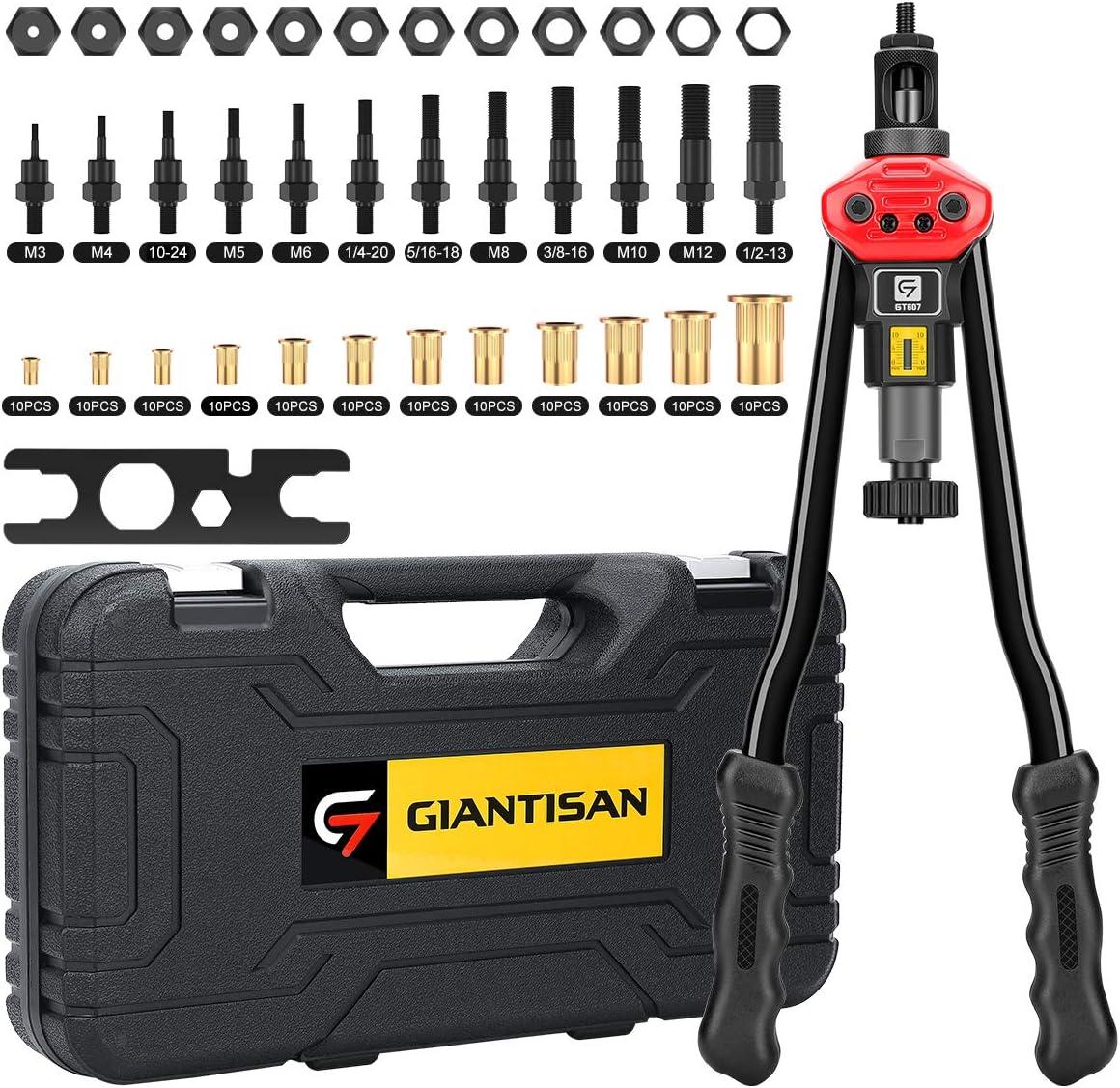 "Giantisan 16"" Rivet Nut Tool, Professional Rivet Nut Tool Setter Kit Including 12 Metric and SAE Mandrels, 120Pcs Assorted Rivet Nuts, Effortless Design, Rugged Carrying Case"