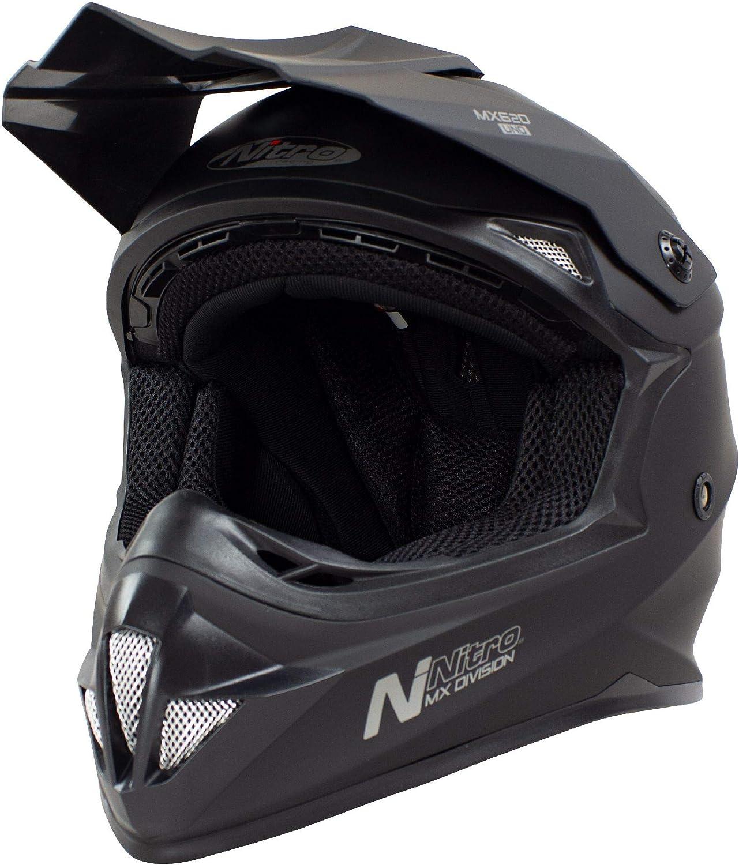 Nitro MX620 Unisex Motocross Motorbike Helmet Uno Satin Black M