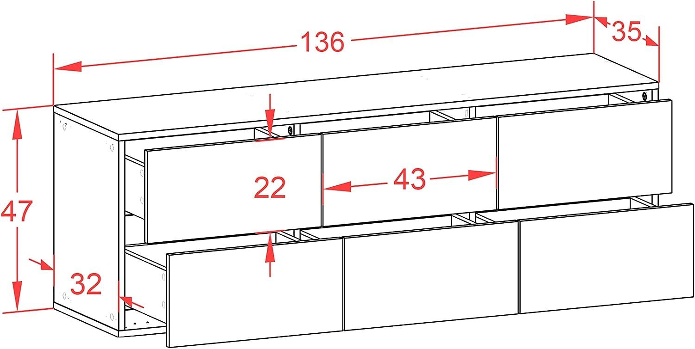 136x47x35cm Korpus anthrazit matt hochwertige Leichtlaufschienen C Front Hochglanz Orange Push-to-Open h/ängend Dekati Lowboard Washington D