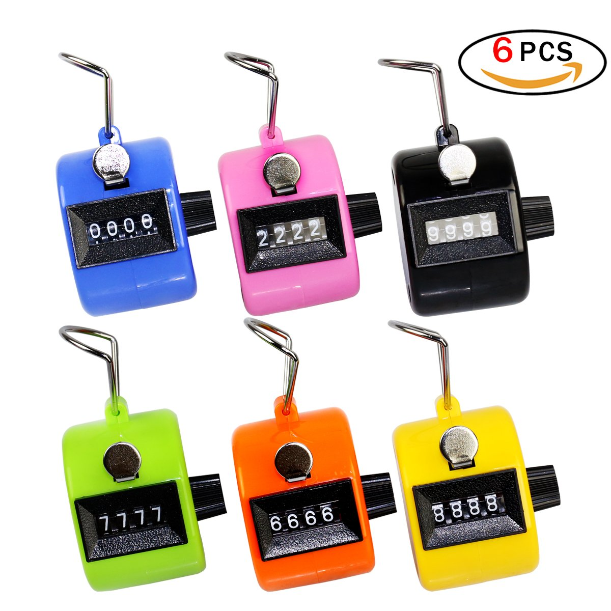 Ndier Contador Manual de Conteo de 6 dígitos Mecánicode de Mano Assorted Plastic Clicker de plástico (6 Paquetes)