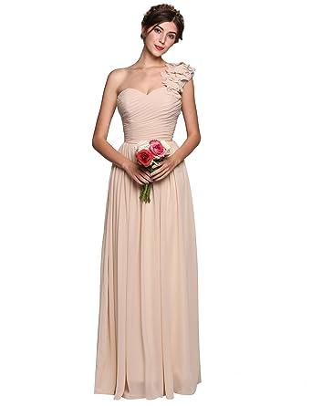 33172a7b97e Amazon.com  ANGVNS Women Sleeveless Flower One Shoulder Empire Waist Floor  Length Bridesmaids Chiffon Dress (Apricot L)  Clothing