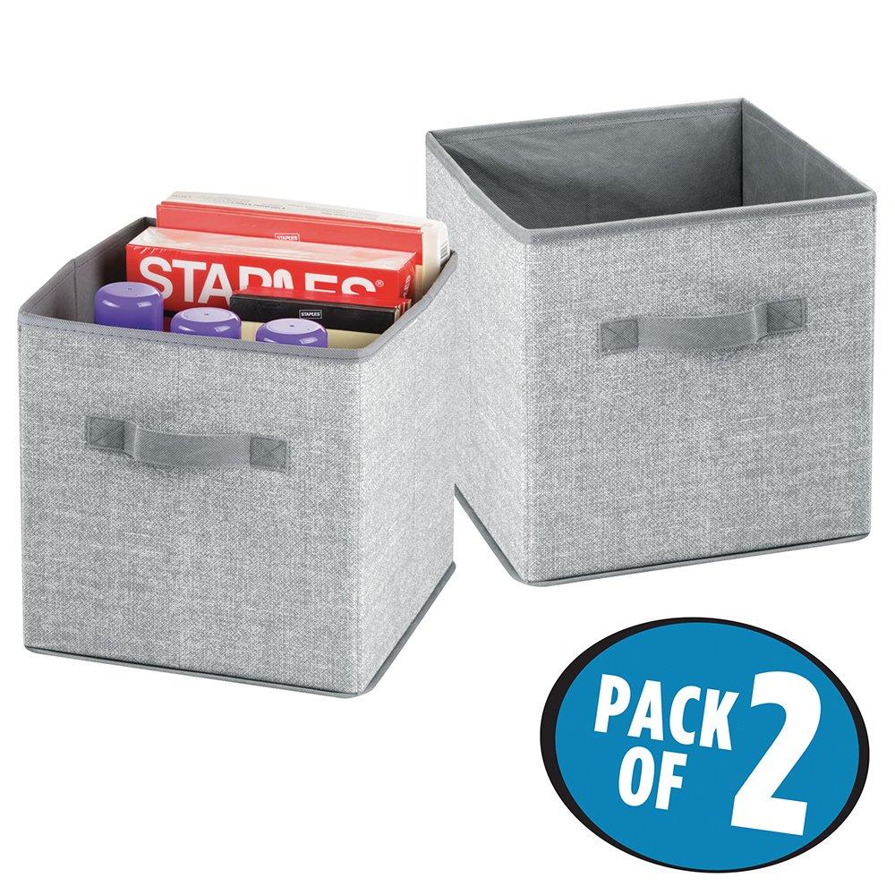 mDesign Juego de 2 cajas organizadoras con asas - Organizadores grandes para artículos de oficina, carpetas y papel de impresora - Caja para organizar ...