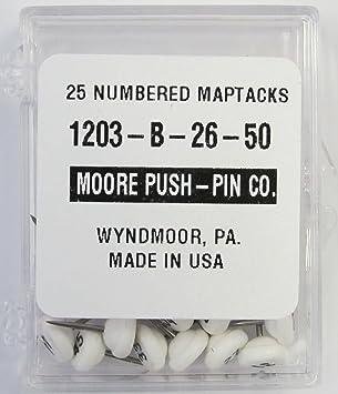 moore push pin 1203 b 26 50 numbered map tacks white