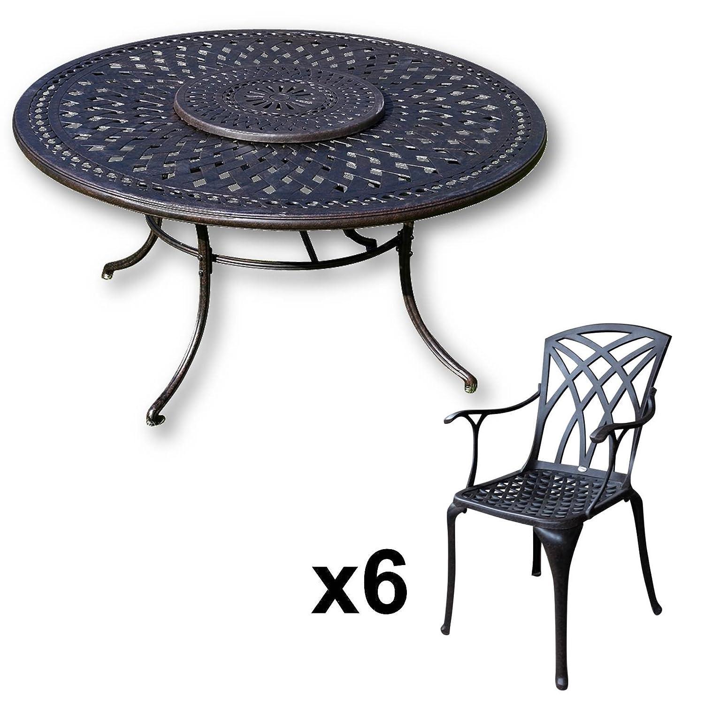 Lazy Susan - FRANCES 150 cm Runder Gartentisch mit 6 Stühlen - Gartenmöbel Set aus Metall, Antik Bronze (APRIL Stühle)