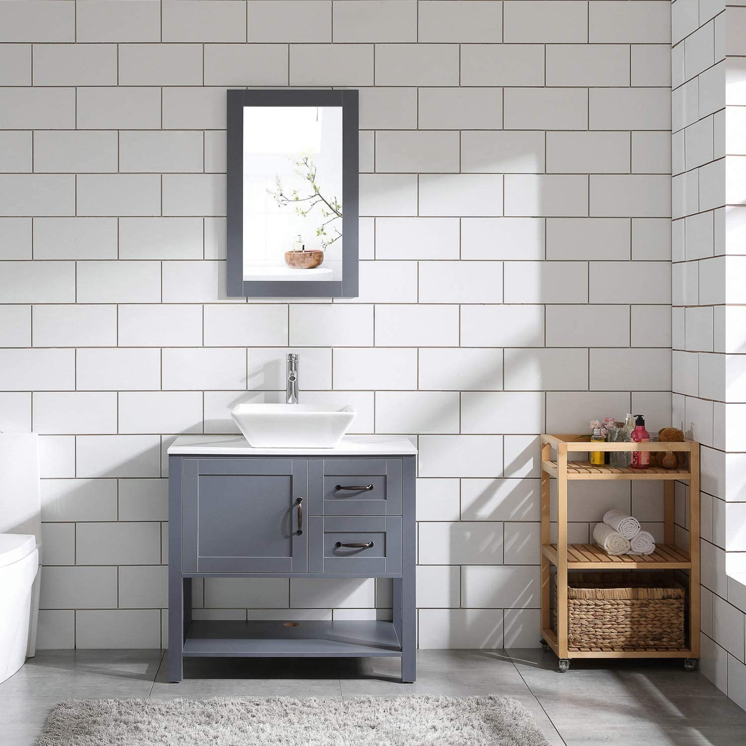 Amazon Com 30 Gray Bathroom Vanity And Sink Combo Marble Pattern Top W Mirror Faucet Drain Kitchen Dining