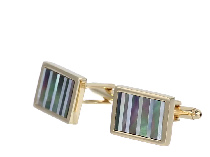Stacy Adams Men's Cuff Link With Mop and Abalone Stripes, Gold, One Size by Stacy Adams (Image #4)