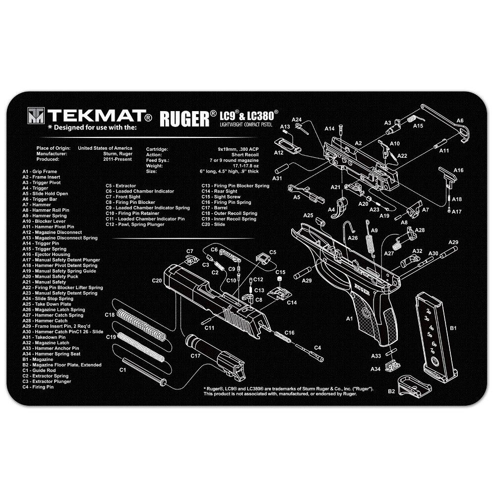 Amazon.com : TekMat Ruger LC9 Mat Black : Sports & Outdoors