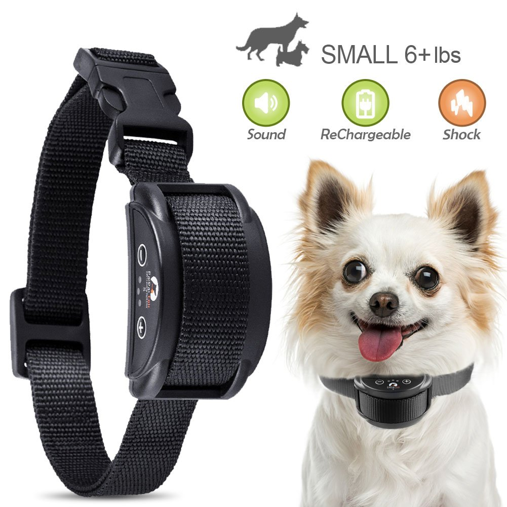 Paipaitek 2018 Upgraded Rechargeable Dog Bark Collar and Anti-Barking with 5 Levels Automatic No Bark Collar for Small Medium Large Dogs No Harm Shock Safe Stop Bark (6+lbs) (Small, Medium, Large)