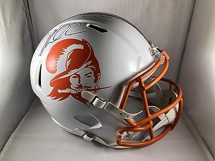 superior quality 6962a 4a41f Amazon.com: Mike Evans autograph signed inscribed Helmet ...