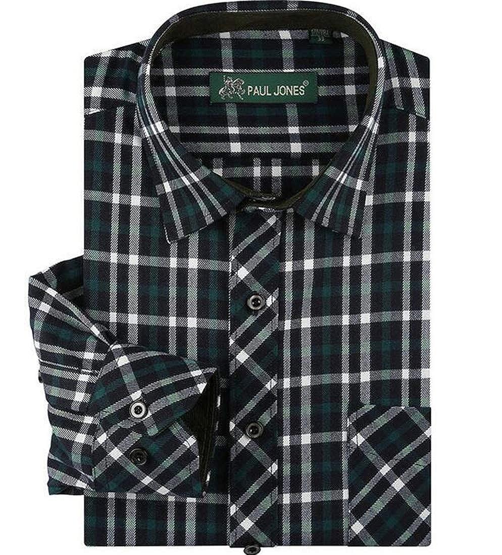 GRMO Men Button Down Checkered Long Sleeve Work Casual Shirt