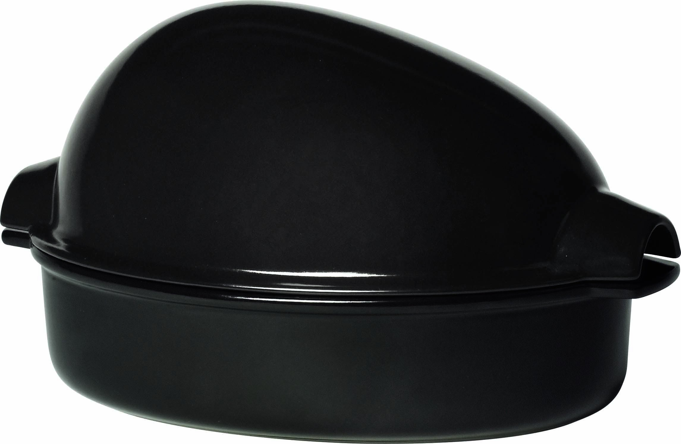 Emile Henry Made In France Chicken Baker, 13.5'' by 9.5'' by 7.5'', Charcoal