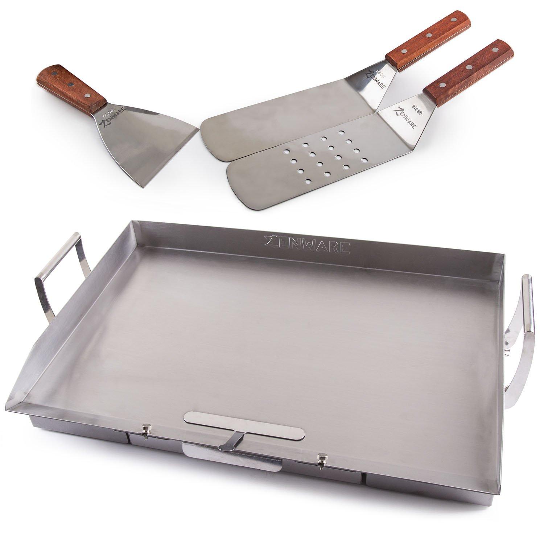 Zenware Stainless Steel Universal Large 22.75 x 15.75 Teppanyaki Griddle for BBQ Grills w/Utensil Set