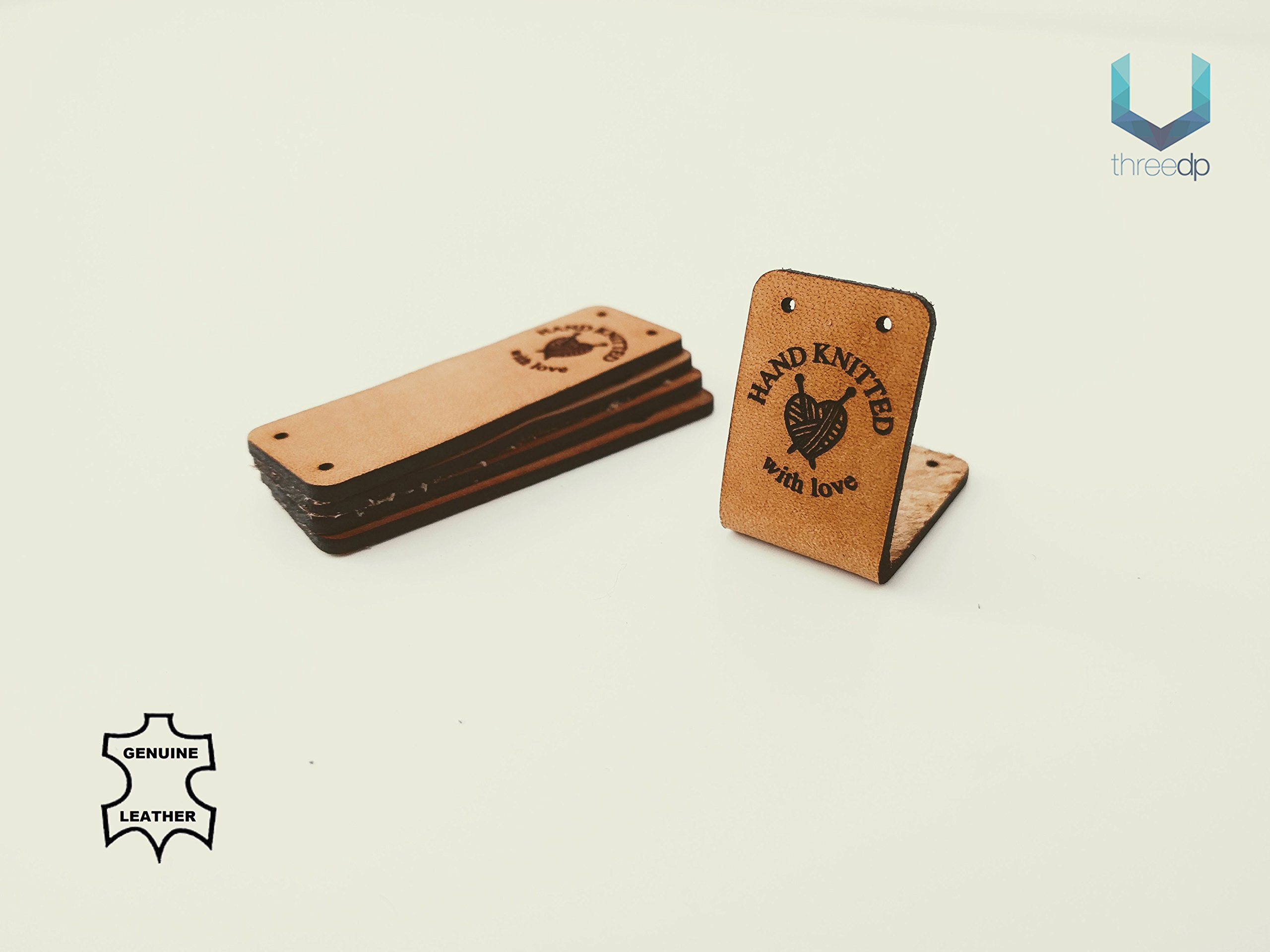 Customizable | Handmade Leather Labels O3''Hand Knitted with Love'' | 15 pcs | Exclusive Engraved Genuine Italian Leather Tags by 3DP (Image #2)