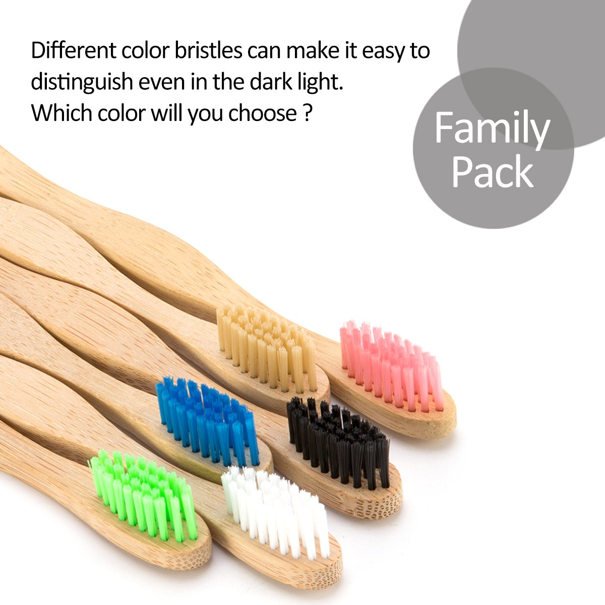 6 Colors Natural Bamboo Toothbrush + a Bamboo Toothbrush Case for Travel, Biodegradable Eco-Friendly Toothbrush with BPA Free Nylon Bristles for Adult by Homtable (Image #2)