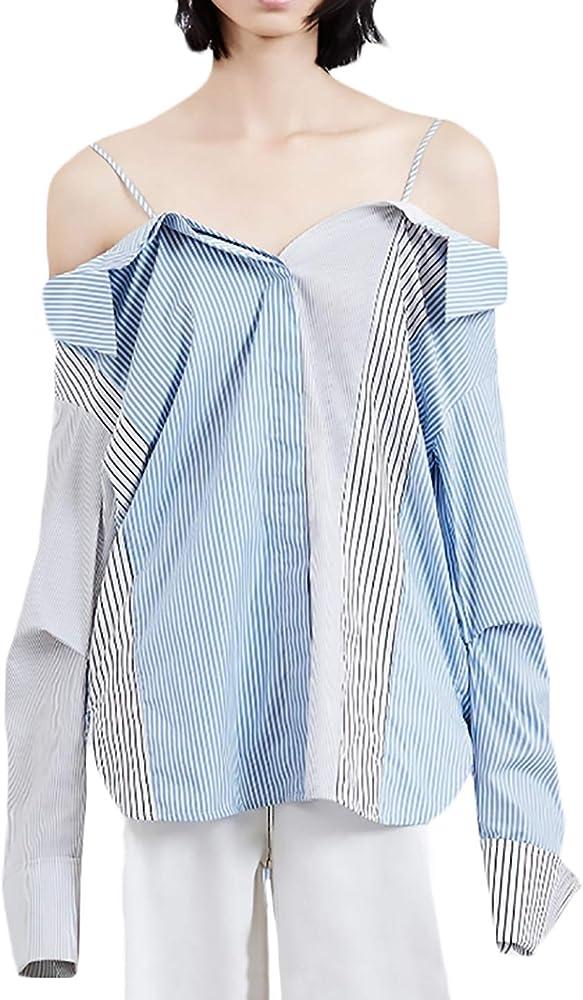 Camisa Mujer Primavera Otoño Fashion Elegantes Flecos Blusas Anchas Modernas Casual Sling Fuera del Hombro Manga Larga Shirts Camisas Tops Casual (Color : Azul, Size : S): Amazon.es: Ropa y accesorios