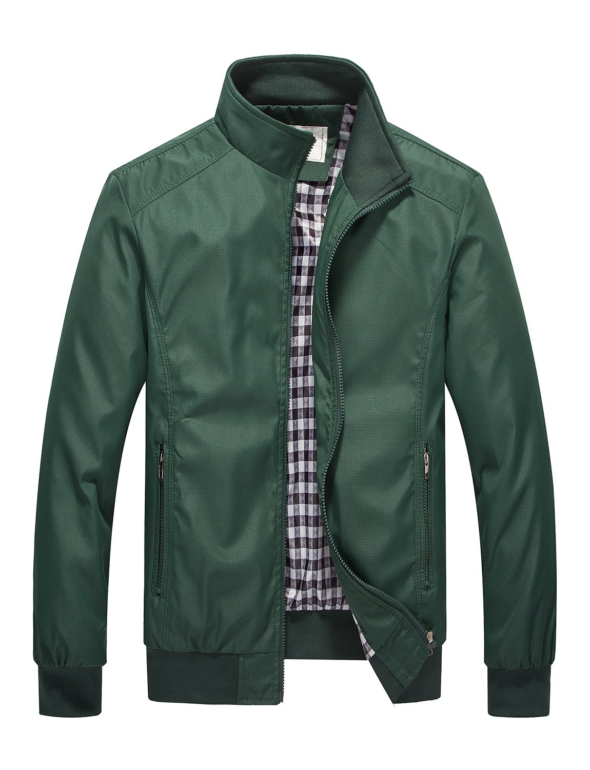 DAVID.ANN Mens Casual Jacket Outdoor Sportswear Windbreaker Lightweight Bomber Jackets and Coats,Green,XX-Large by DAVID.ANN