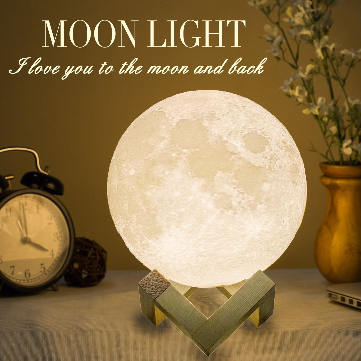 Mydethun Moon Lamp Moon Light Night Light for Kids Gift for Women USB Charging and Touch Control Brightness 3D Printed Warm and Cool White Lunar Lamp(7.1 in Moon lamp with Stand)