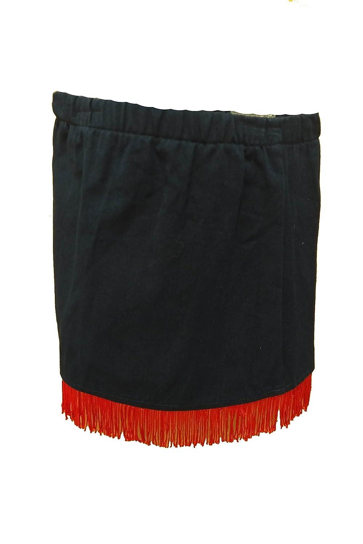 Girls Navy Skirt With Red Fringe