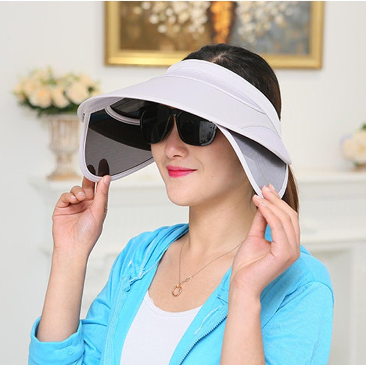 TININNA Sombrero,Moda Sombrero Visera de Sol del Verano Mujeres Escalable Plegable resiste UV Gorro del Playa Viaje Ciclismo Beige
