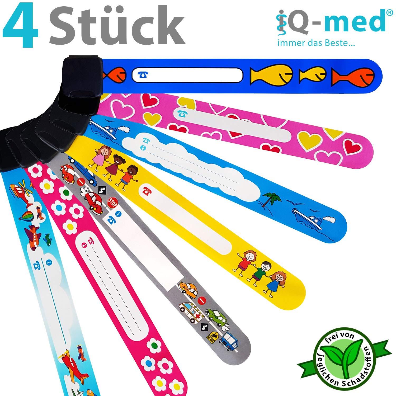 iQ-med ® - Pulsera de emergencia para niños, juego de 4 pulseras, resistentes al agua, se puede escribir sobre ellas con cualquier bolígrafo, motivos a elegir:para niños, niñas o variadas | reutilizables | pulseras de identificación de seguridad para niños
