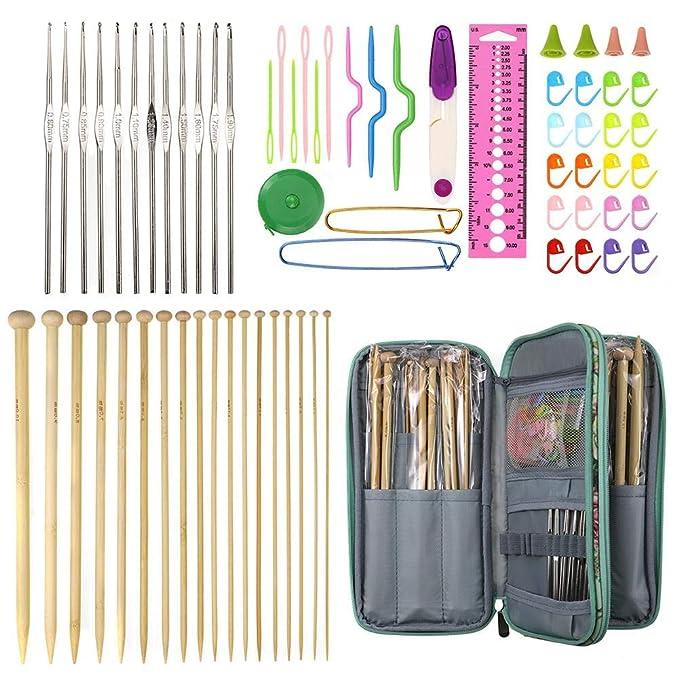 bricolaje accesorios de herramientas de punto con 2 mm-10 mm 18 pares de agujas de tejer 5 ganchos de ganchillo y 12 ganchos de aluminio 69 piezas de ganchos de ganchillo con estuche port/átil