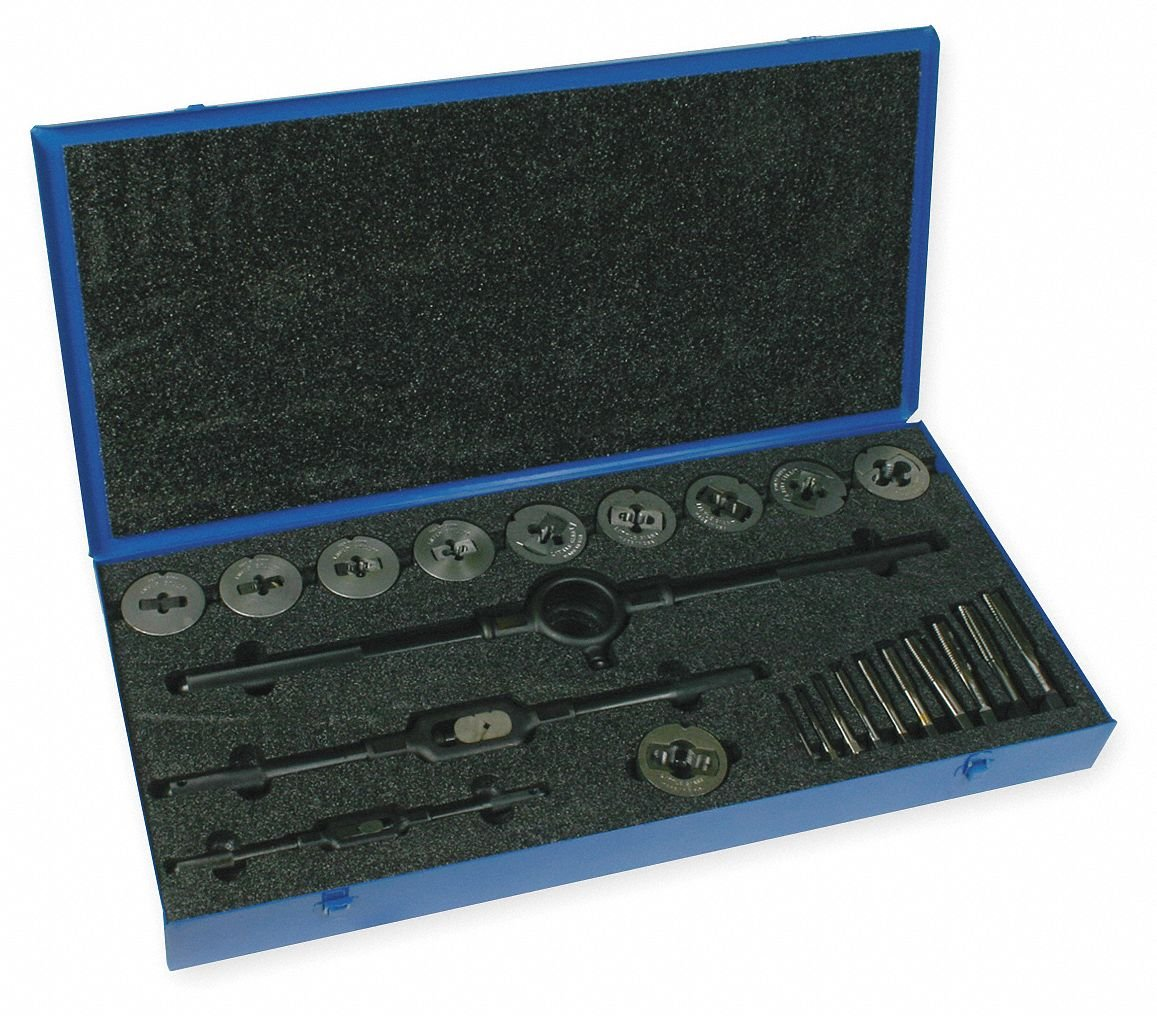 24-Piece High Speed Steel Tap and Die Set with 1/4'' to 1'' Size Range