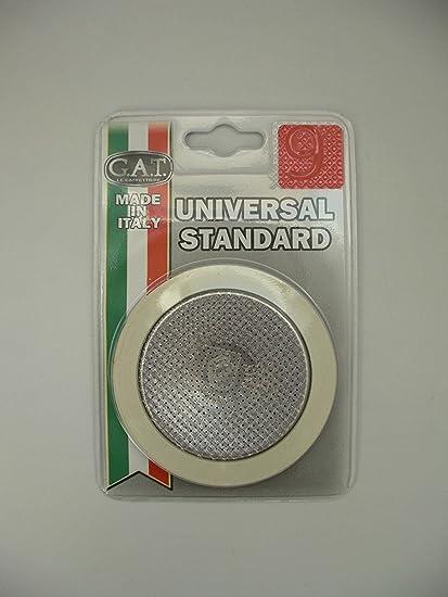 GAT Italy - Juego de 9 tazas para hornillo de espresso (incluye juntas de goma y filtro, aluminio, 15 x 10 x 2 cm), color plateado