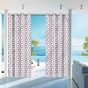 """ParadiseDecor Anchor Indoor/Outdoor for Garden Drapes Porch Gazebo Curtains Classical Journey Theme 112"""" W x 95"""" L"""