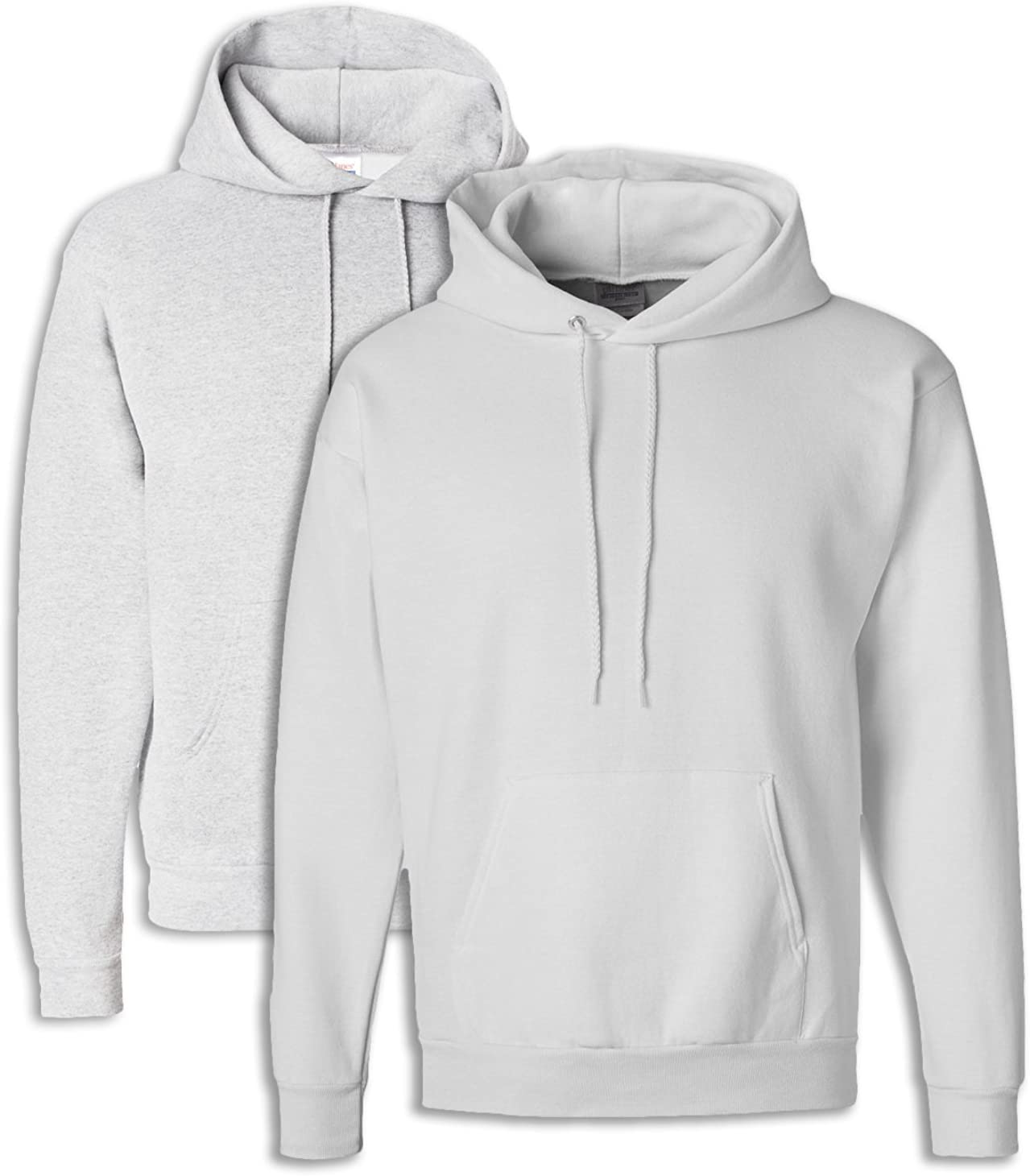 Hanes Mens EcoSmart Hooded Sweatshirt Large 1 Ash 1 White