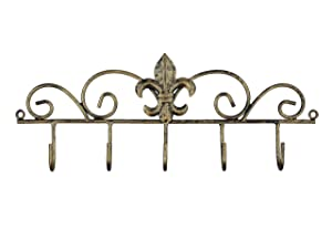 Decorative Fleur De Lis Wall Mounted Metal Hanger - 5 Hook - Keys, Hats, Towels, BBQ or Gardening Tools